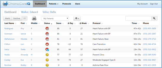 chronic care IQ medical app dashboard